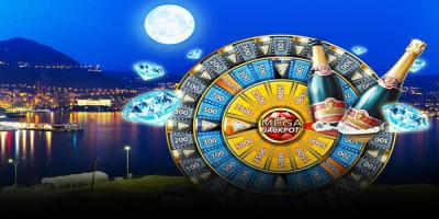 mega jackpot casino wheel with diamonds and champaign